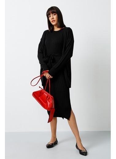 Gusto Triko Elbise  Siyah